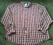 NWT MSRP $55 Mens CHAPS Button Front Burgundy Plaid Long Sleeve Shirt 2XL XXL