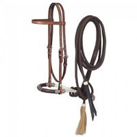 Western Brown Leather Browband Style Headstall with Bosal Mecate Reins