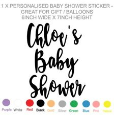 1 x PERSONALISED - BABY SHOWER VINYL STICKER  / DECAL - BALLOON GIFT BOX CRATE