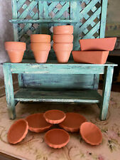 Vintage Miniature Dollhouse 1:12 Large Collection Terracotta Pottery for Garden