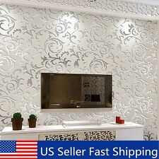 10M Damask Embossed Textured Non-woven Wallpaper Rolls Background Wall Decor US