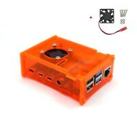 Raspberry Pi 4 Model B Orange Acrylic Case Enclosure Box /w Cooling Fan US Stock