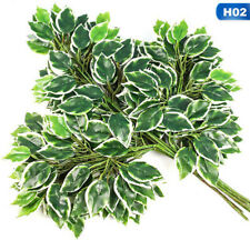 12PCS Ficus Branch Tree Spray Green Artificial Plant Flowers Fake Vogue lskn
