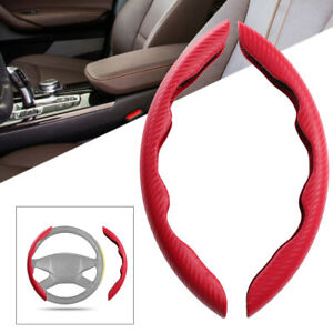 Pair Carbon Fiber Red Non-Slip Steering Wheel Booster Cover Trim Car Accessories