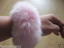 Free Shipping/ Real Rabbit Fur ponytail holder hair band scrunchie/pink