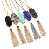 Fashion Women's Big 2'' Oval Abalone Druzy Stone Long Tassel Pendent Necklace
