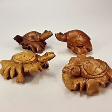 Parasite Wood Carving Set of 4 Turtles Hand Carved Figurine Chinaberry Tree Bali