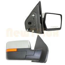 PAIR POWER View MIRROR(L+R)~CHROME Cover+Amber Reflector/Side Marker~04-14 F150