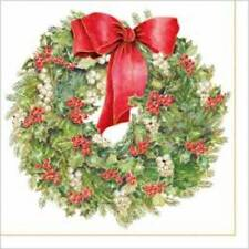 """Paper Luncheon Napkins 2 x 20pcs 13""""x13"""" Christmas Wreath with Red Bow"""