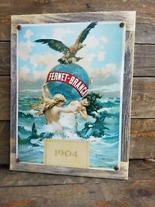 Fernet Branca Liqueur Poster Reproduction Metal Sign Reclaimed Wood Frame