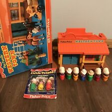 Vtg Fisher Price Little People Western Town Box RARE Cowboy Indian, New Farm Set