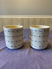 """Longaberger Pottery Woven Traditions Blue 6"""" Stacking Soup Cereal Bowl Set Of 8"""