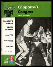 1969-70 1970 CAROLINA COUGARS @ DALLAS CHAPARRALS ABA PROGRAM~CYBERNET 6600 AD