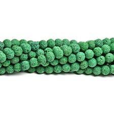Lava Rock Stone Round Beads 10mm Dark Green 35+ Pcs Dyed  Gemstones Jewellery