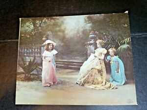 "1899 Girls in the Garden ULLMAN MFG CO NEW YORK Lithograph Print 9.5"" x 7.5"""