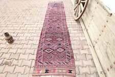 2.6x12.8, TURKISH Runner, OUSHAK Runner, VINTAGE Runner, Wool, Handmade, Pink