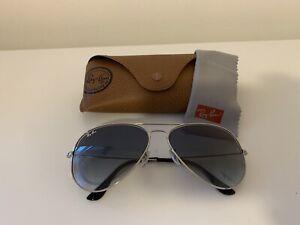 Ray-Ban Rb3025 Aviator Silver Frame / Light Blue Gradient  Lens 62mm Sunglasses