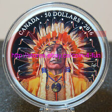 2016 Canada - Wanduta - Portrait of a Chief - 5 oz $50 Pure Silver Coloured Coin