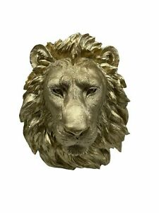 """Wall Charmers Large Gold Faux Lion Head Wall Hanging 17"""" Lion Head Wall Decor"""