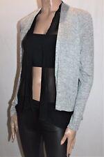 Katies Designer Grey Melange Black Chiffon Double Cardigan Size S BNWT #SG110