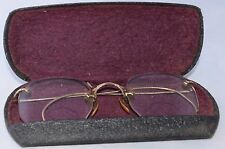 Antique 12K Gold Filled Wire Frame Glasses Hex Bifocal Lenses with Case