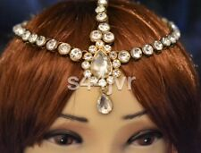 Golden Crystal Indian Matha Patti Tikka Head Chain Jewelery Bridal Wedding