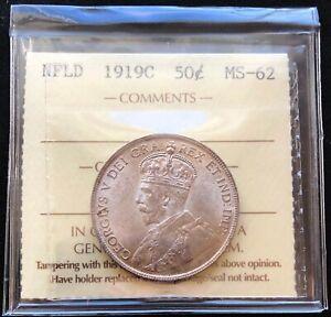 1919C Newfoundland Silver 50 Cent Half Dollar ***ICCS Graded MS-62***