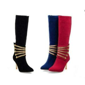 Womens Suede Knee High Boots Side Zip Shoes Stilettos Heel Pointy Toe Metal Sexy