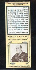 1936-39 Diamond Matchbook Hockey Type 6  Bill Stewart  Black Hawks  LOOK !!
