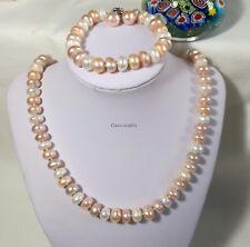 Silver Genuine oblate 10-11mm freshwater pearl N+B+E 4pcs L50/19cm Multicolor