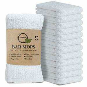 Softolle Kitchen Towels, Pack of 12 Bar Mop Towels -16x19  Assorted Colors