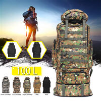 100L Outdoor Military Rucksacks Tactical Bag Camping Hiking Trekking
