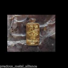 GOLD 24K PURE 1/50 th TROY OUNCE OZ SOLID PREMIUM BULLION BAR 999.9 FINE