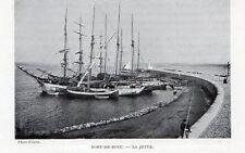 PORT DE BOUC BATEAU IMAGE 1908 OLD PRINT