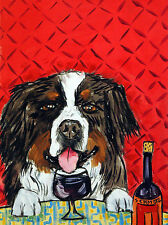 Bernese Mountain dog wine art PRINT 13x19 signed JSCHMETZ