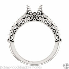 Semi Mount Setting Sculptural Vintag White Gold Engagement Ring 1/2ct Princess