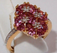 ** SECOND **   2.50ct Garnet Floral Ring, gold overlay Sterling Silver, Size M.