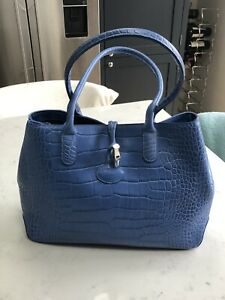 Longchamp Blue Crocodile Embossed Leather Roseau Tote