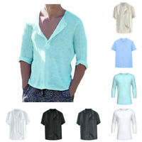 Men's Casual Cotton Linen Solid Short Sleeve Retro T-shirts Tops Loose Blouse
