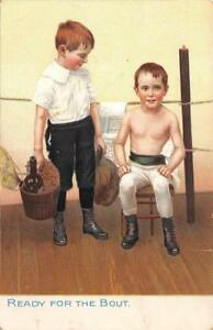 READY FOR THE BOUGHT BOYS BOXING BOTTLE SPORTS RAPHAEL TUCK POSTCARD (c. 1900)