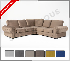 NEW PLUSH VELVET Chesterfield VERONA Corner Sofa Soft Velvet Grey Cream Blue