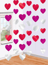 7ft Pink Red Valentines Day Engagement Party Love Heart Foil String Decorations
