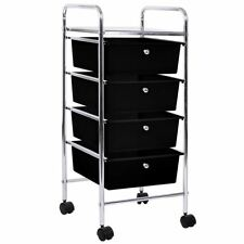 4 Drawer Trolley Black Kitchen Food Storage Tier Unit Shelves By Home Discount