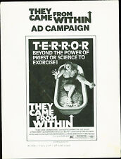Shivers (1975) They Came From Within David Cronenberg Horror Pressbook