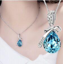 1 Halskette Blau Kristall Strass Engel Träne Anhänger Tropfen Modeschmuck 43cm