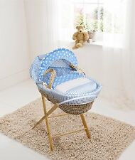 Blue Spots & Stripes Palm Moses  Basket & Folding Stand