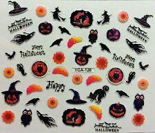 Halloween 3D Nail Art Stickers Owl Ghosts Spider Webs Birds Brains Witch (Y126)