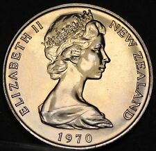 New Zealand 10 Cents, 1970 Proof-Like~Only 20,010 Minted~Maori Mask~Free Ship