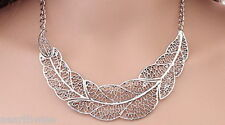 1 x SILVER LEAF NECKLACE Wicca Pagan Witch Goth VINTAGE RETRO