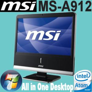 """MSI MS-A912 18.5""""Inch AIO Intel ATOM D525 4x1.80GHZ 4GB 320GB DVDRW WEBCAM WIN-7"""